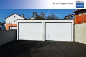 Bangerl Betonfertiggarage - Doppelgarage Exklusiv mit 2 Sektionaltoren in weiß