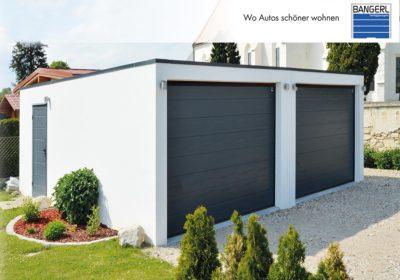 Bangerl Betonfertiggarage - Doppelgarage Exklusiv mit 2 Sektionaltoren, Dachranddesign und Nebeneingangstüre